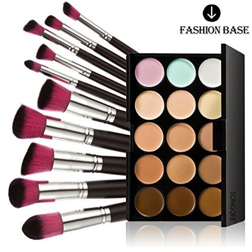 Fashion Base 15 Colors Contour Face Cream Makeup Concealer Palette With 10PCS Makeup Brushes Set Eyeshadow Brush (15 Color Concealer Palette& 10PCS Black and Rose Red Head Eyeshadow Brushes) by Fashion Base (TM)