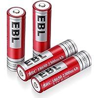 EBL 4 Unidades 18650 Batería Litio Recargable 2300mAh 3.7V de Baja Autodescarga para Electrónica Digital, Juguetes de Niños, Linterna, Alarma de Seguridad (18650*4)