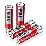 EBL 18650 Akku 2300mAh 3.7V Li-Ionen Akku für Taschenlampe, Spielzeug 4 Stück mit Aufbewahrungsbox