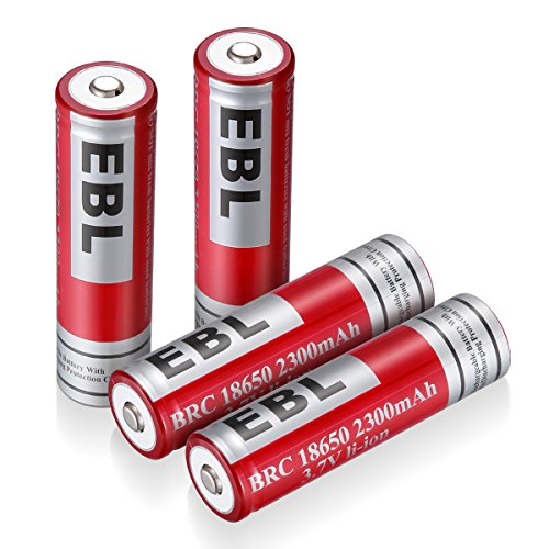 EBL 4 Unidades 18650 Batería Litio Recargable 2300mAh 3.7V de Baja Autodescarga para Electrónica Digital, Juguetes de...