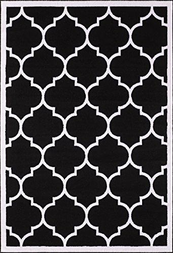 A2Z RUG Alfombra Negra con diseño de celosía Blanca, 140x200 cm, colección Moderna