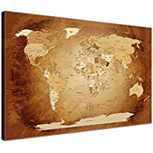 LanaKK Mapamundi con corcho para fijar los destinos - Mapa del mundo marrón colorido, inglés, lámina sobre bastidor camilla en marrón, enmarcado en una parte de 100 x 70 cm