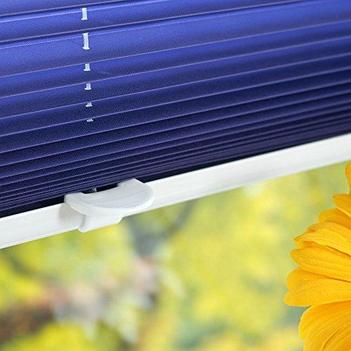 Liedeco® Klemmfix Plissee Farbverlauf verspannt inkl. Klemmträger /Breite x Höhe: 75 x 130 cm / Farbe: Blau / Plissee farbig zum Klemmen fürs Fenster / Sonnenschutz und Fensterdekoration innen / lichtdurchlässig und verstellbar / Innen-Montage ohne Bohren / 123 montiert / Falt-Plissee / Plissee-Rollo Sichtschutz Blendschutz - 4