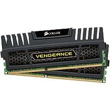 Corsair CMZ8GX3M2A1600C9 Vengeance Memoria per Desktop, 8 GB (2x4 GB), DDR3, 240-pin DIMM, PC3-12800, 1600 MHz, CL9, con Supporto XMP, Nero