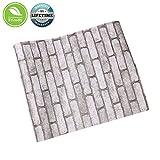 Adesivi per carta da parati in mattoni rustici Carta da parati in pietra grigia Sfondi per mattoni autoadesivi 3D Impermeabile per camera da letto Cucina 0.45x5m
