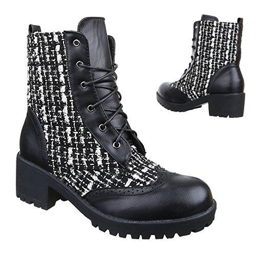 Damen Schuhe, WL-76, STIEFELETTEN BOOTS SCHNÜRER Schwarz