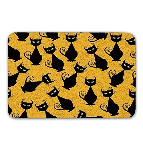 rücken-rutschfeste Türmatten, Muster der schwarzen Katze auf orange Hintergrund-Halloween-Hexe-Haustier-grafischen dekorativen Fußmatten-Fußmatten-Wolldecken ()