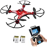 Quadrocopter Potensic Drohne 5.8GHz mit 2MP HD Karmera FPV Monitor Video Live Übertragung - Rot