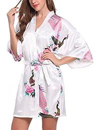 ADORNEVE Women's Sexy Kimono Robe Short Peacock Blossoms Satin Nightwear Pajamas