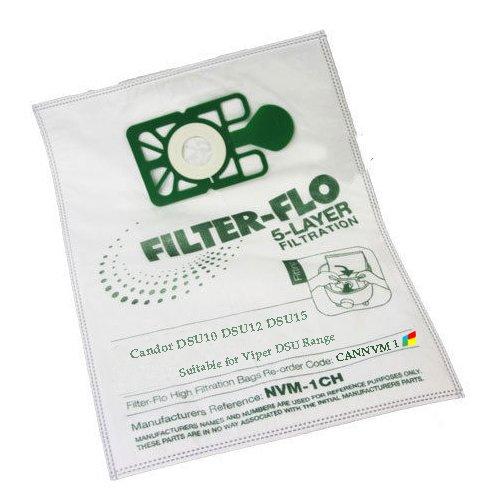 Flo Vac (Candor Premium Viper DSU Serie Staubbeutel - 5-lagige Filtration Mikrofaserbeutel für DSU10, DSU12, DSU15)