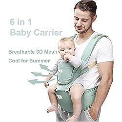 Happy Walk 6 en 1 Convertible Baby & Child Carrier con Asiento de Cadera / mochilas portabebes ergonómico Diseñado / Manos Libres para Todas las Estaciones, (Recién Nacido, Bebé y Niño Pequeño)