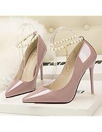 Boca superficial zapatos de moda coreana elegancia fina zapatos con tacón alto boca superficial señaló perla diamante...