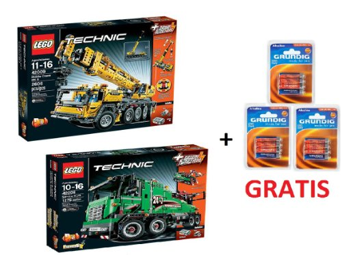 Lego-Technic-Set-42009-Mobile-Crane-Heavy-Tow-Truck-42008-12-Grundig-Batteries-for-free
