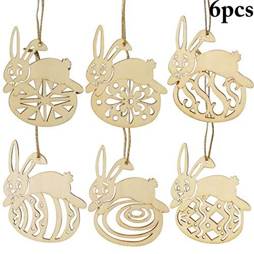 Outgeek ornamenti d'attaccatura di legno, 6pcs pasqua hanging pendant decor carino bunny pasqua hanging sign party hanging ornament per la decorazione della parete di casa