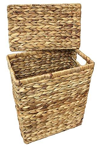 Kleiner Wäschekorb oder Wäschebehälter 28 Liter. Natürliche Hyazinthe. Deckelkorb - 3