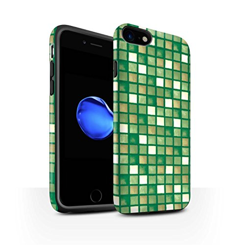STUFF4 Matte Harten Stoßfest Hülle / Case für Apple iPhone 8 / Grün/Weiß Muster / Bad Fliesen Kollektion Grün/Braun