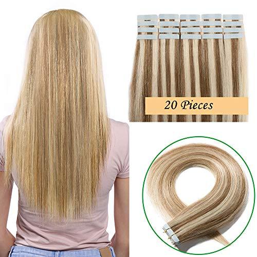 Extension capelli veri adesive 20 fasce 50g tape extension con biadesivo remy human hair lisci naturali (40cm #12p613 castano oro&biondo chiarissimo)