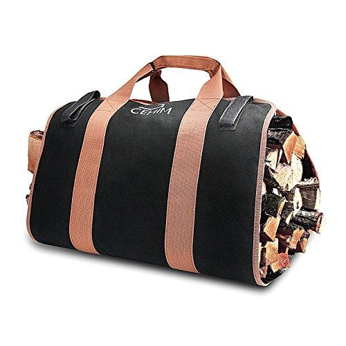 Cehim Leña Bolsa de transporte Durable Lona de trabajo pesado Tote Bag Estufa de chimenea Accesorios (negro)