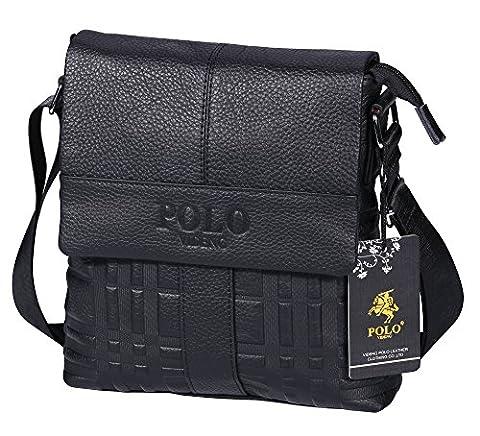 VIDENG POLO Genuine Cow Leather Shoulder Bag Business Messenger Crossbody Bags for Men (Black-vs2)