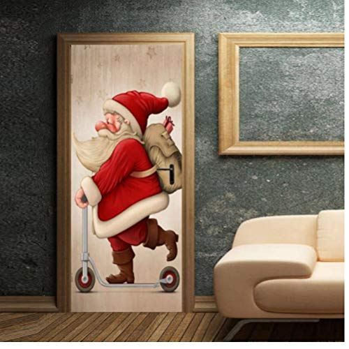 Gamloious Fantasía de Navidad 3D Etiqueta Puerta árbol de Navidad de Santa...