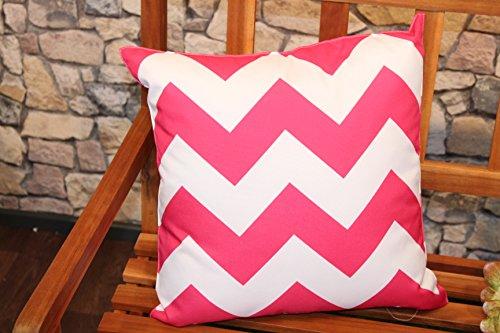 Kamaca ® XL Outdoor Kissen Sitzkissen Wasserabweisend Fleckabweisend Schmutzabweisend mit Lotus Effekt für Haus Camping Garten 45 x 45 cm maschinenwaschbar (Zickzack pink) (Outdoor-matratze-kissen)