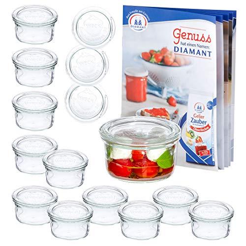 MamboCat 12er Set WECK-Sturzgläser 165 ml + 12 Glas-Deckel RR80 + Rezeptheft | Pasteteten-Gläschen Klar | Ø 88 mm | Einmachen, Einkochen & Konservieren | Einweck-Zubehör -
