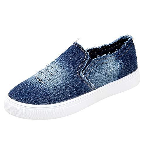 Zapatillas Running para Mujer Estudiante Casual Zapatos Fondo Plano Cabeza Redonda Mezclilla Zapatillas de Deporte Comodo Gimnasia Sneakers riou