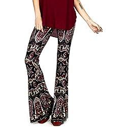 Inlefen Mujeres cómodos elásticos Campanas de Campana Pantalones de Flores Estampados Elegantes Pantalones Casuales Ropa de Fiesta Festivo Ropa de Fiesta