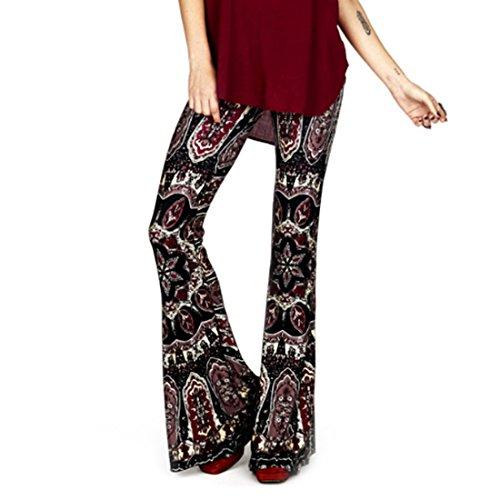 Inlefen Womens Comfy Stretchy Bell Bottom Flare Hosen Blumen Drucken Elegante Casual Hosen Festliche Abendgarderobe Partywear