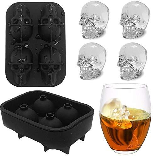 Spooky Cocktails Für Halloween - ALEMIN 3D Schädel Silikon Eiswürfelform Tablett,