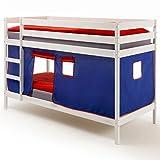 IDIMEX Etagenbett Hochbett Stockbett Doppelstockbett FELIX, Kiefer massiv weiß lackiert, inkl. Vorhang blau/rot