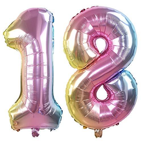 8, 32 Zoll Helium Folie Luftballon 18 Geburtstag Folienballon Geburtstag Dekoration Set Riesen Folienballon Fur Party (Regenbogen) ()