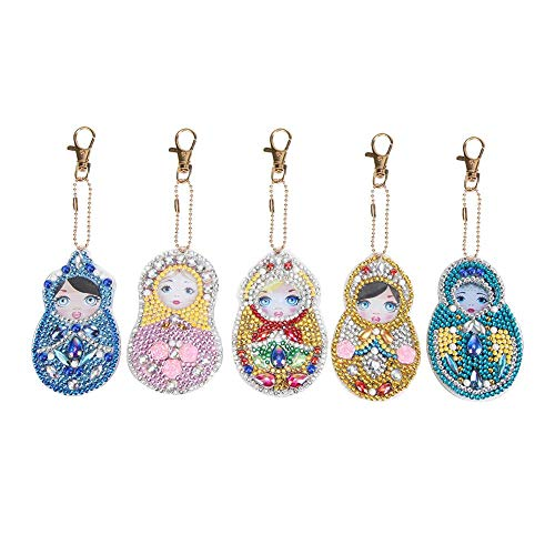 Seawang 5 Teile/Satz Schlüsselanhänger Anhänger DIY DIY Puppe Bohren Voll Spezial Geformt Diamant Malerei Keychain (Licht Keychain Spaß)