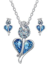 Young & Forever Valentine Gifts Special Timeless Treasure Crystals From Swarovski Pendant & Earrings Jewelry Set...