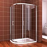900 x 800 mm Left Quadrant Easy Clean Shower Cubicle Glass Sliding Enclosure Door + Stone tray + waste trap