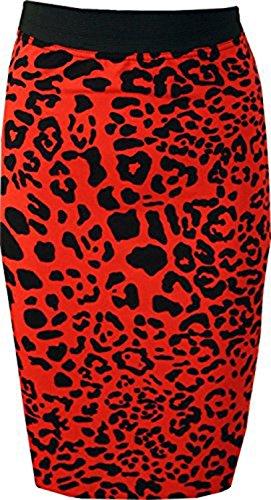 Friendz Trendz -Womens Gonna longuette elastica in vita con elastico in vita stampata Red Leopard
