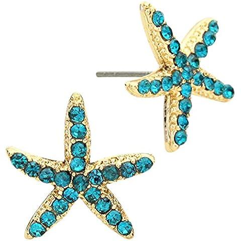 Adorable brillante azul cristal estrella de mar Pendientes de tuerca Nautical Oro Tono Moda