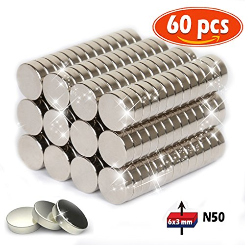 Hochwertige Mini Magnete, 6 x 3 mm, ultrastark/Neodym-Magnete/Kühlschrank-Magnete/Tafel-Magnete/Magnete rund/Scheibenmagnete