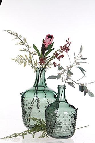 MICA Decorations 241794Diego Weave Botella de cristal/–Jarrón, cristal, vidrio, gris/verde, H 30...