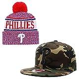Lorh's store Baseball Team Paar einstellbar Unisex-Erwachsener Sport Schirmmütze und Huset warm Manschette Strickmütze (Philadelphia Phillies)