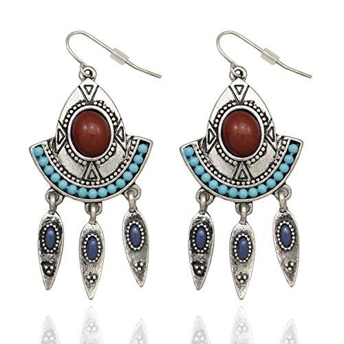 A. florers Tribal Vintage Silber geätzt Triangle Pfeil Stein Concho Zuni Gypsy baumeln ()