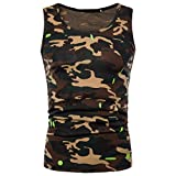 Herren T-shirt,Sonnena Männer Casual Camouflage Print O Neck ärmellos T-Shirt Top Weste Bluse Polyester/Print/1st Tops/Fashion & Sport Style (L, Gut Gelb)