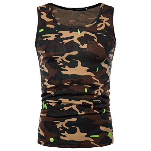 Bekleidung Herren AMUSTERHerren Weste Sport Vest Tank Top Fitness Gym Shirt Tarnung Oberteile O Hals Ärmellos T-Shirt Top Bluse Solide Weste Muscleshirt Print Tops (L, Gelb)