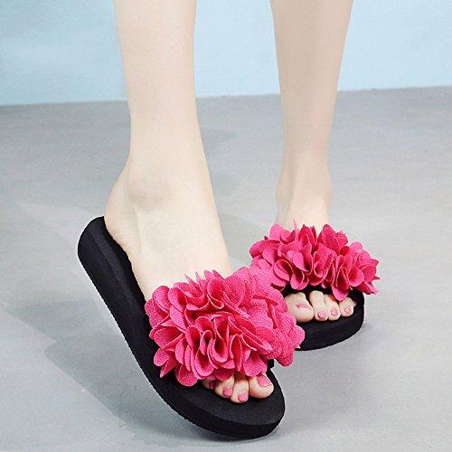 Estate Sandali Pantofole Handmade dei fiori Sandali sdrucciolevoli dell'estate femminili Sandali di usura casuali (multicolore multicolore facoltativo) Colore / formato facoltativo 3cm-Rose pink