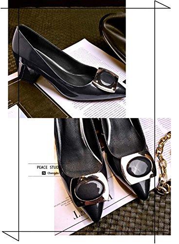 NobS Handmade Large Size In Pelle Square Classic Abbottonato Tacco Alto Tacco Grosso Point Toe Scarpe Donna gun color