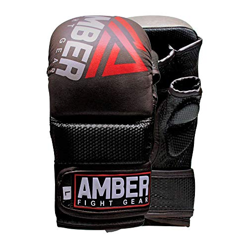 Amber Fight Gear Contender Sparring MMA Glove Real Leather Hybrid Grappling Martial Arts Sparring Punching Bag Cage Fighting Maya Hide Leather Mitts UFC Combat Training Open Palm Half Thumb L/XL (Mma Fight Gear)