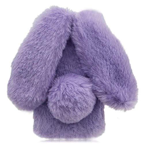 Awenroy Hase Pelz Handyhülle für Wiko Sunny 2 Plus [ 3D Flauschiges Kaninchen ] Weicher & bequemer Plüschbezug Spaß schön Stoßfeste Hülle für Wiko Sunny 2 Plus - Lila