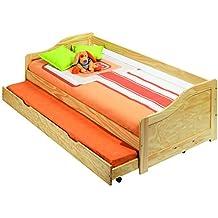 Sofa cama con somier y ruedas y estructura de madera 208,4x66,5x96 cm para colchones de 90x190 cm