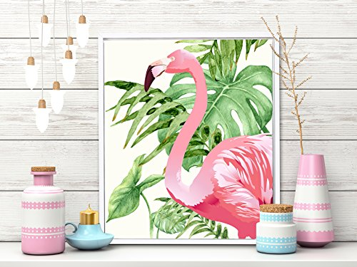 Painting Mantra Art Flamingo Framed Canvas Art Print - (Pink, 11 X 13 INCH)