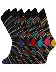 Aler Pierre Calvini 12 Lot de chaussettes rayées riches en coton : 39 à 45